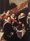 Frans Hals Canvas Paintings - Banquet of the Officers of the St. George Civic Guard [detail]